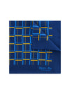 Navy Silk Handkerchief with Amber & Blue Grid
