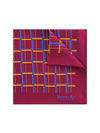 Burgundy Silk Handkerchief with Amber & Blue Grid