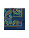 Navy Silk Handkerchief with Blue, Amber & Red Paisley