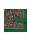Green Silk Handkerchief with Deep Red, Beige & Amber Paisley