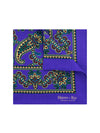 Purple Silk Handkerchief with Beige, Blue & Dark Red Paisley