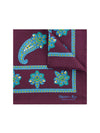Burgundy Silk Handkerchief with Orange, Green & Blue Paisley