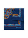 Navy Silk Handkerchief with Orange & Rust Kaleidoscope Paisley