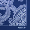Navy Silk Handkerchief with White Large Paisley