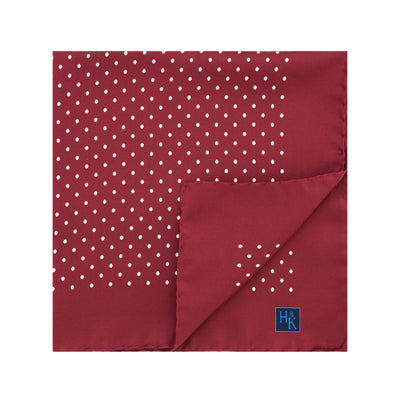 Wine Silk Handkerchief with White Medium Spots