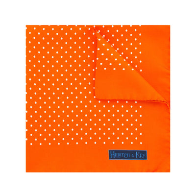 Orange Silk Handkerchief with White Medium Spots