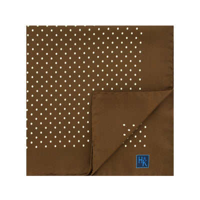 Brown Silk Handkerchief with White Medium Spots