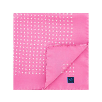Pink Silk Handkerchief with White Pin Spots