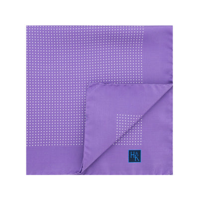 Lilac Silk Handkerchief with White Pin Spots