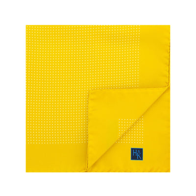 Yellow Silk Handkerchief with White Pin Spots
