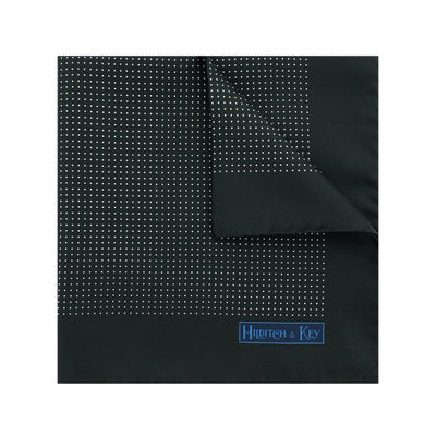 Black Silk Handkerchief with White Pin Spots