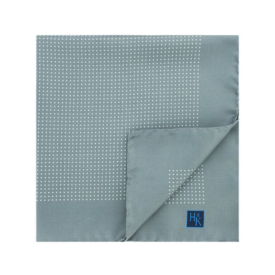 Grey Silk Handkerchief with White Pin Spots