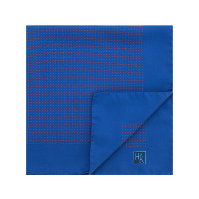 Navy Silk Handkerchief with Red Pin Spots