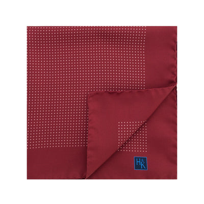 Wine Silk Handkerchief with White Pin Spots