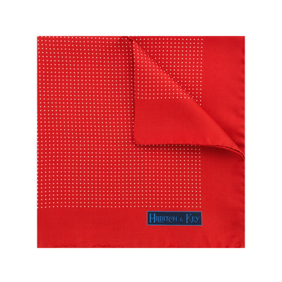 Red Silk Handkerchief with White Pin Spots