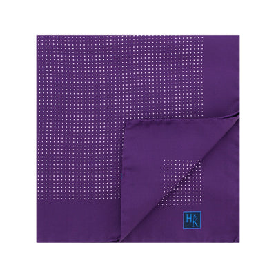 Purple Silk Handkerchief with White Pin Spots