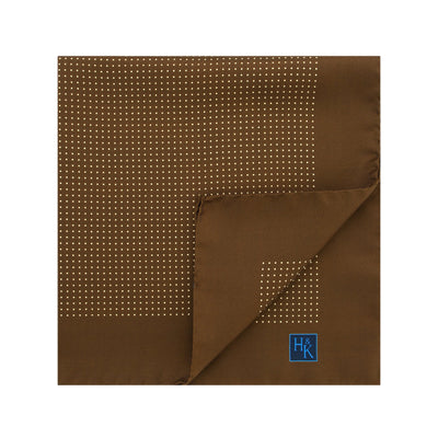 Brown Silk Handkerchief with White Pin Spots