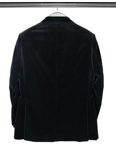 Black Single Breasted Velvet Jacket