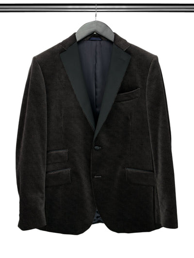 Black & Grey Houndstooth Velvet Jacket