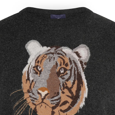 Big Cat Sanctuary Cashmere Sweater In Grey