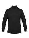 Plain Black 2-Ply Extra Fine Merino Wool Roll Neck Pullover