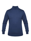 Plain Denim Blue 2-Ply Extra Fine Merino Wool Roll Neck Pullover