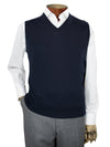 Plain Navy Single Ply Merino Wool V-Neck Slipover