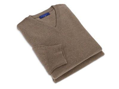Plain Mid Brown 2-Ply Cashmere V-Neck Pullover