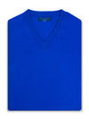 Plain Royal Blue 2-Ply Cashmere V-Neck Pullover