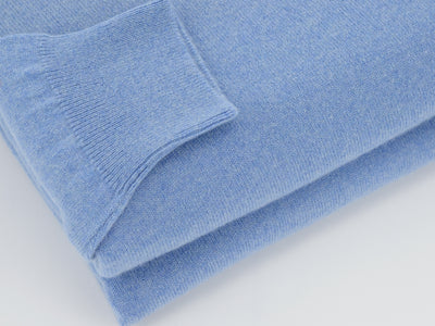 Plain Light Blue 2-Ply Cashmere V-Neck Pullover