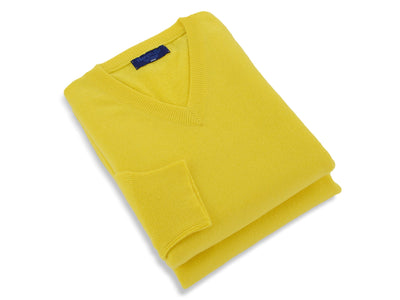 Plain Yellow 2-Ply Cashmere V-Neck Pullover