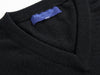 Plain Black 2-Ply Cashmere V-Neck Pullover