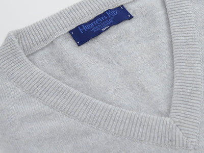 Plain Light Grey 2-Ply Cashmere V-Neck Pullover
