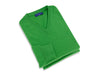 Plain Green 2-Ply Cashmere V-Neck Pullover
