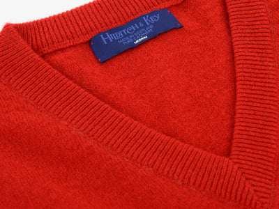 Plain Red 2-Ply Cashmere V-Neck Pullover