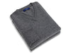 Plain Dark Grey 2-Ply Cashmere V-Neck Pullover