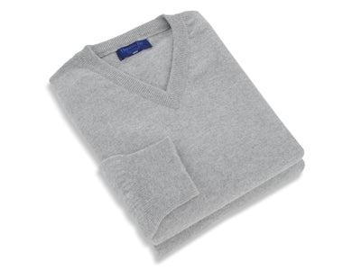 Plain Grey 2-Ply Cashmere V-Neck Pullover