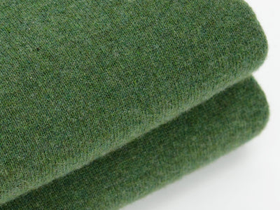 Plain Dark Green 2-Ply Cashmere V-Neck Pullover