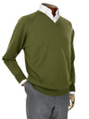 Plain Green Single Ply Merino Wool V-Neck Pullover