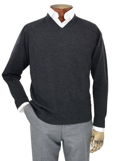 Plain Black Single Ply Merino Wool V-Neck Pullover