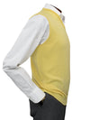 Plain Yellow Single Ply Merino Wool V-Neck Slipover