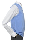 Plain Light Blue Single Ply Merino Wool V-Neck Slipover