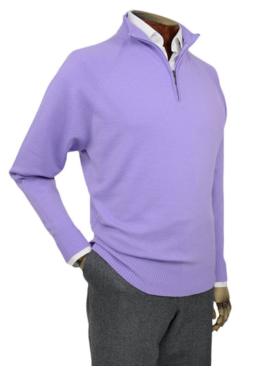 Plain Lilac Single Ply Merino Wool Zip Neck Pullover