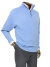 Plain Light Blue Single Ply Merino Wool Zip Neck Pullover