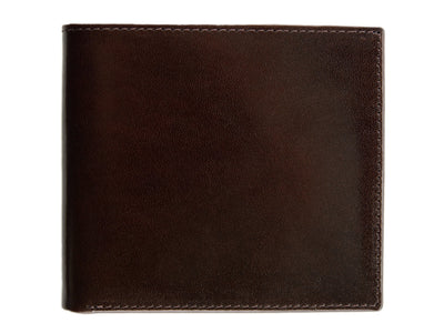 Brown with Orange Calf Leather Classic Billfold Wallet