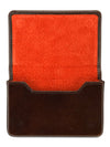 Brown Calf Leather with Orange Suede Business Card Holder