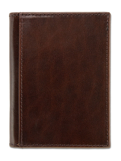 Brown with Orange Calf Leather Billfold Card Holder