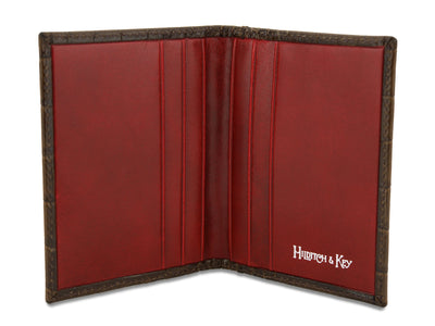 Brown with Red Calf Leather Billfold Card Holder