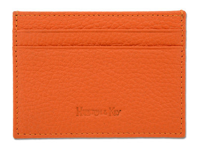 Orange Calf Leather Double Sided Card Holder