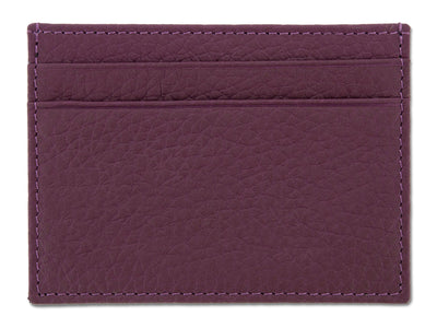 Purple Calf Leather Double Sided Card Holder
